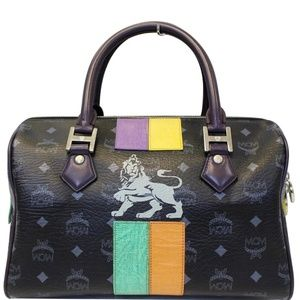 MCM VISETOS LION PRINCESS BOSTON BAG BLACK
